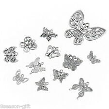 HX 10PCs Vintage Alloy Butterfly Pendant Jewelry Findings