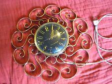 VTG MID CENTURY MODERN EAMES 50S 60S TELECHRON WALL CLOCK G.E. GOLD