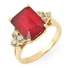Estate ring 5.0 ct natural ruby and diamond 14k gold