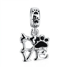 Love Paw Print .925 Sterling Silver European Dangle Charm Bead for Bracelets