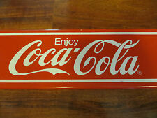 Coca-Cola soda pop advertising logo long display topper collectible steel sign,