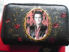 NEW BLACK  LEATHER ELVIS  IMAGE  PICTURE PURSE