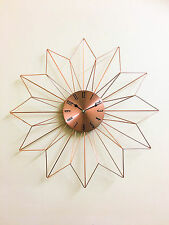 48cm Metallic Dial Copper Finish Metal Spikes Design Sunburst Wall Clock New