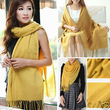 Yellow Knit Women Winter Long Scarf Wrap Blanket Oversized Shawl Solid Color OS