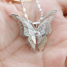 Women Girl Modern Chic Shiny Silver Plated Hollow Butterfly Necklace Pendant