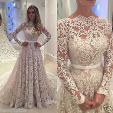 Vintage Lace Wedding Dress Long Sleeve Sheer Back Princess Bridal Gown Customize