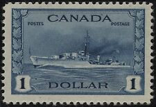 Canada 262 $1.00 deep blue King George VI War Issue Tribal Class Destroyer(1942)