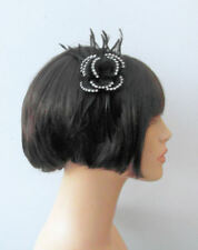 Black Flower with Clear Rhinestones Hair Fascinator on matching Headband
