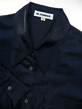 JIL SANDER WOMENS SIZE 38 CASUAL DRESS SHIRT BLUE 77% SILK STYLISH MADE IN ITALY