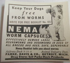 "1938 Ad Nema Worm Capsules Park, Davis & Co., ""Keep Your Dog Free From Worms"""
