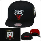 Mitchell & Ness Chicago Bulls Snapback Hat 50th Anniversary 1966-2016 ALL BLACK