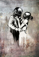 "BANKSY STREET ART *FRAMED* CANVAS PRINT Think Tank lovers 18x12"" stencil -"