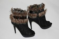 Two Lips Too Fringe 6.5 Black Lace Ankle Boot OpenToe Genuine Feathers Heel Pump