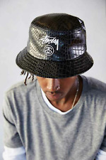 NEW STUSSY BLACK CROC FAUX LEATHER BUCKET HAT LARGE/ EXTRA LARGE