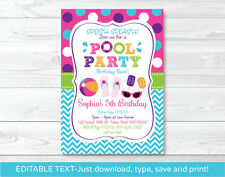 Girls Pool Party Printable Birthday Invitation Editable PDF