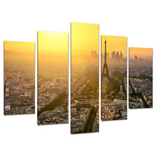 Set 5 Eiffel Tower Yellow Canvas Wall Art Pictures Paris France 5153