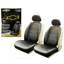 2pc Chevy Bowtie Synthetic Leather Sideless Car Truck 2 Front Seat Covers Set