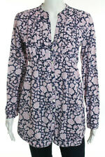Roberta Roller Rabbit White Blue Red Cotton Floral Button Up Shirt Size Medium