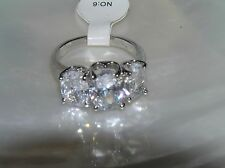 Estate Stair Step Oval Clear Rhinestone SIlvertone Cocktail Ring Size 6 – top is