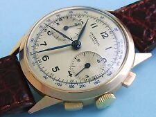 UNIVERSAL GENEVE 18K SOLID GOLD 1940S CAL 287 COLUMN WHELL RARE CHRONOGRAPH