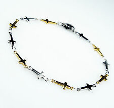 Unisex Women's Mens Stainless Steel Gold Silver Tone Cross Beads Bracelet B2