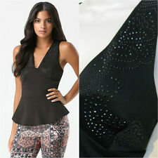 BEBE BLACK STUD DEEP V PEPLUM STRETCH NEW NWT TANK TOP BLOUSE SMALL S