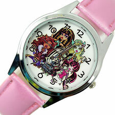 NEW MONSTER HIGH DOLLS PINK LEATHER FILM MOVIE GIRL FAIRY TALE STEEL WATCH UK W0