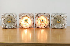 Marbled Quartet of Vintage Glass Wall Lamps by Doria Sconces NOS 50's - 60's