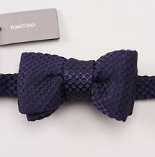 NWT $250 TOM FORD Midnight Blue Woven Dot Silk Bow Tie Bowtie Small Size