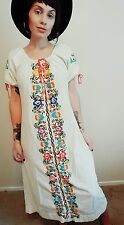 vtg 60s OAXACAN Mexican Hippie Wedding Dress Floral Embroidered maxi kaftan S M