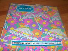 """Vintage Hi-Sil Flower Power Shower Gift Wrap 2 Sheets 20"""" x 30"""" MIP Made in USA"""