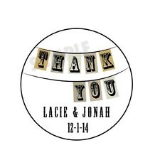"24 Personalized Wedding Vintage Thank you Favor Labels (1.67"") Round Glossy"
