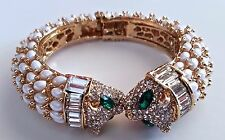 New Austrian Clear Crystal and Resin Gold Tone Panther Head CUFF BRACELET