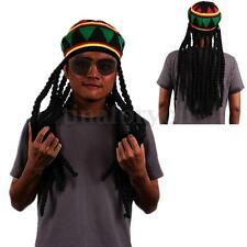 Mens Jamaican Rasta Knit Dreadlocks Wig Tam Bob Marley Caribbean Fancy Dress Hat