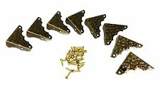 8pc. Antique Brass-plated Box Corners with Decorative Stamped Design 32-160-01