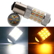 2Pcs White&Amber S25 1157 BAY15D SMD 4014 60 LED Bulb Front Turn Signal Lamp 12V