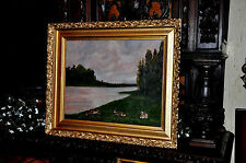 lovely early 20th Century  Land and  River scape Barbizon  Painting