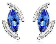 Amazing Silver & Royal Blue Angel Eye Tear Stud Earrings E632