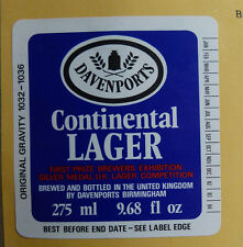 VINTAGE BRITISH BEER LABEL - DAVENPORTS CONTINETAL LAGER, 275ML 9.68 FL OZ