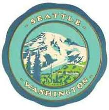 Seattle, WA    Washington    Vintage-Looking Travel Decal/Luggage Label/Sticker