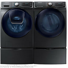 Samsung Black Stainless Washer Electric Dryer Pedestals WF50K7500AV DV50K7500EV