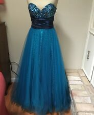 Jovani Formal Dress Blue Ball Gown Prom Pageant Sequins Chiffon Full Sweep 6