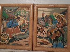 """Matching set of Latin American themed paintings """"Man and Woman"""""""
