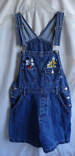 Disney Mickey Mouse & Pluto Denim Overalls Shorts Romper Jean Shortalls Medium