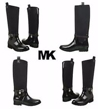 MICHAEL KORS Brea Charm Black Shiny Rubber Rain Boot Girls Kids Shoes Size 3