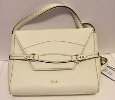 $198 NWT Ralph Lauren Vanilla Leather Sheldon Flap Crossbody Shoulder Bag