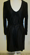 YSL YVES ST LAURENT BLACK SILK JERSEY DRESS BRAIDED TRIM AND BELT FRENCH 36 US 6