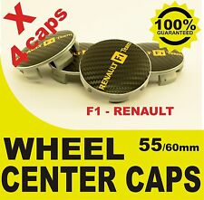 tapas llantas  ruedas RENAULT F1 CARBONO wheel center caps 55mm 60mm 4x