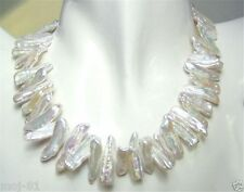 """Rare Natural White Abnormal Shape Akoya Cultured Pearl Gems Necklace 17"""" AAA+"""
