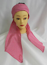 Juicy Couture headband scarf Pink White Square Geometric pattern Ret 45 New Silk
